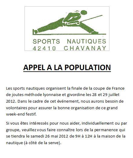 Appel aux bénévoles - Finale de la coupe de France de joutes